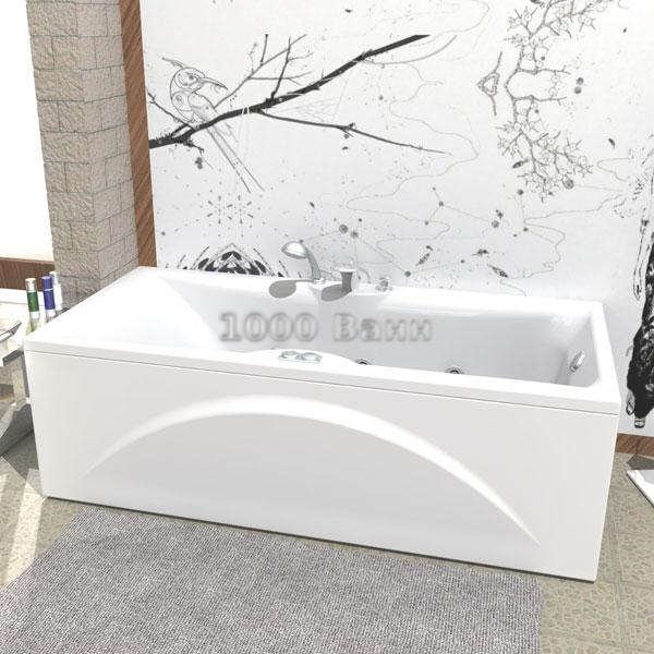 Ванна акриловая АКВАТЕК Феникс 190х90 (с гидромассажем на электроуправлении) Flat Chrome
