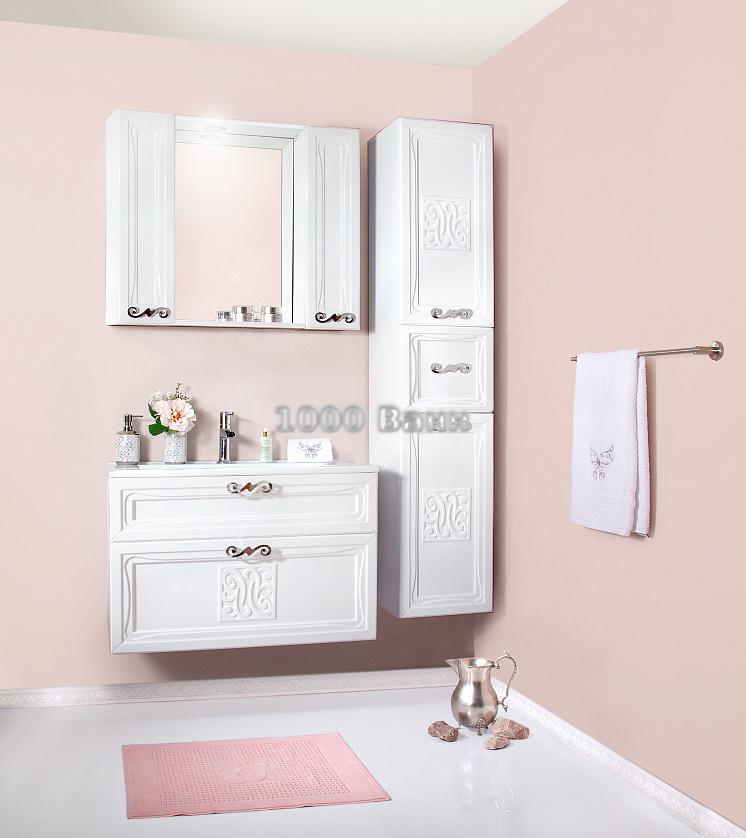 Комплект мебели для ванной Адель 85 белый глянец