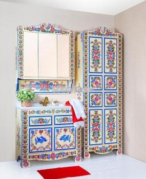 Комплект мебели для ванной Городецкая роспись 90
