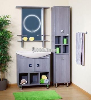 Комплект мебели для ванной Хоккайдо 85 серая лиственница